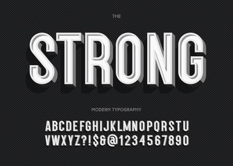 Vector strong font modern typography sans serif style for book, promotion, poster, decoration, t shirt, sale banner, printing on fabric. Cool 3d bold typeface. Trendy alphabet. 10 eps