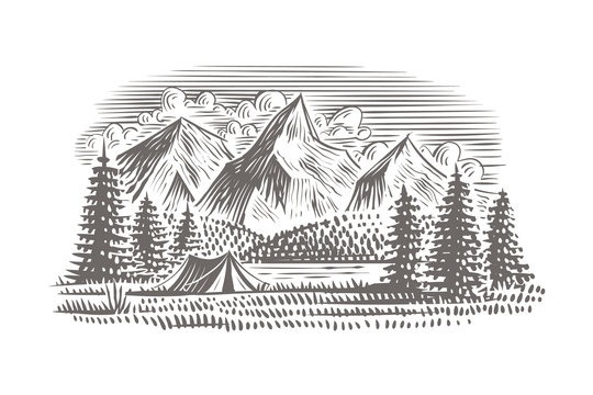 Travel/camping landscape illustration with forest, mountains and lake and tent. Vector, isolated, layered.