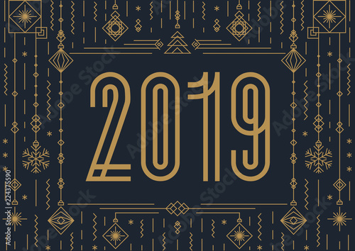 merry christmas card with sign 2019 modern typography and new year toys art deco gold style - How To Sign A Christmas Card