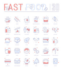 Set Blue Line Icons of Fast Food.