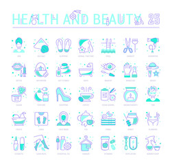 Set Blue Line Icons of Health and Beauty
