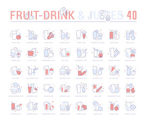 Set Blue Line Icons of Fruit and Vegetable Juices.