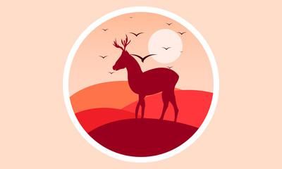 deer logo at sunset