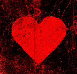 Abstract scratches black background with bright red heart