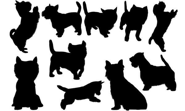 Westie dog Dog svg files cricut,  silhouette clip art, Vector illustration eps, Black Dog  overlay