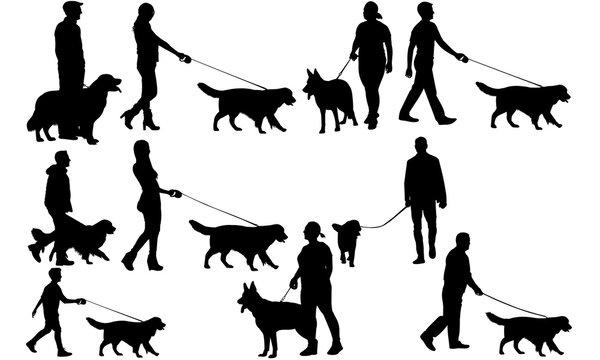 Walking a Dog svg files cricut, Girl Walking a Dog  silhouette clip art, Boy Walking a Dog Vector illustration eps,Morning Walk Black Dog  overlay