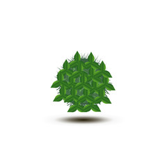 Abstract sphere green leaves icon. vector illustration
