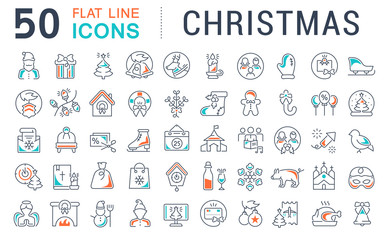 Set Vector Line Icons of Christmas.