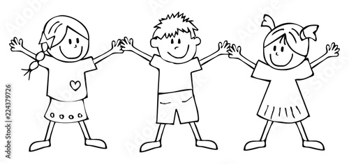 two girls and boy, coloring book, vector icon\