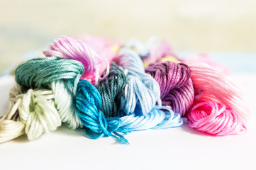 Multicolored mouline threads for embroidery