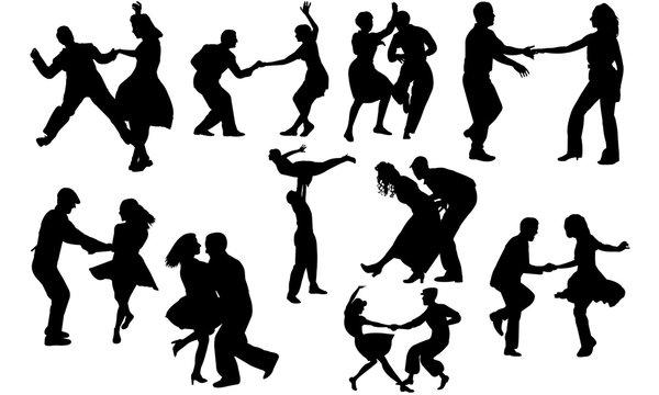 Swing Dance svg, dance cricut files,  black dancer silhouette Vector clipart, illustration, eps, overlay