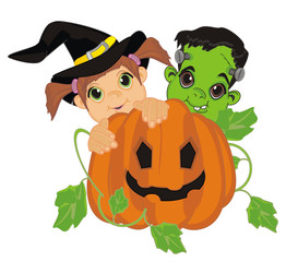halloween, witch, little witch, halloween witch, girl, child, pumpkin, holiday, orange, October 31, monster, frankenstein, two