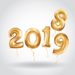 Happy New Year 2018 2019 gold balloons banner