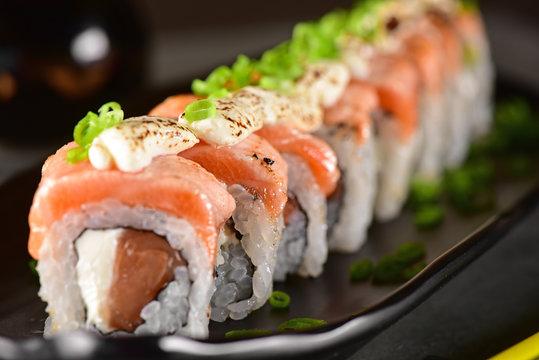 Salmon and cream cheese sushi