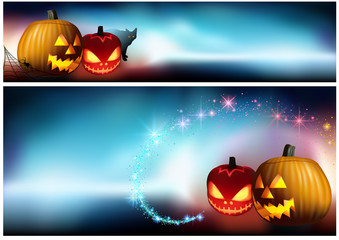 Halloween Pumpkins and a Spooky Fog - Banner and Background Illustration, Vector