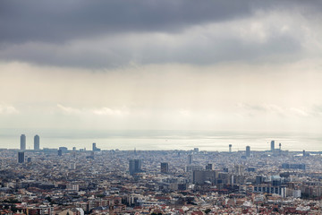 General city view from lookout of Collserola mountain,Barcelona.