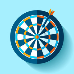 Volume Target icon in flat style on color background. Darts game. Arrow in the center aim. Vector design element for you business projects