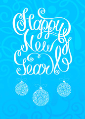 Blue Happy New Year 2019 card with Christmas balls.
