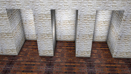 three stone niches in the wall. 3D rendering