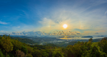 sunrise on Phuket big Buddha viewpoint sunrise above Chalong sea
