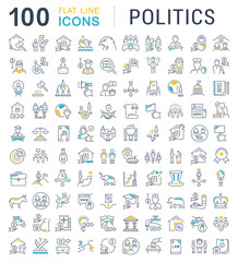 Set Vector Line Icons of Politics.