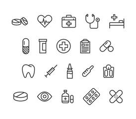 Set of Medicine Health Medical Icons vector Editable Stroke. 48x48 Pixel Perfect.