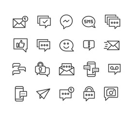 Set Of Message Conversation Email Icons Vector Editable Stroke. 48x48 Pixel Perfect.