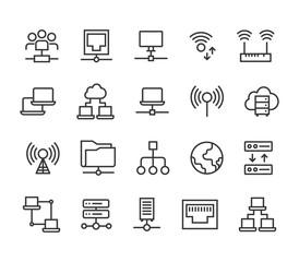 Set of Network Communication ,Server, Cloud, WI FI ,Grid, Internet.Editable Stroke. 48x48 Pixel Perfect.