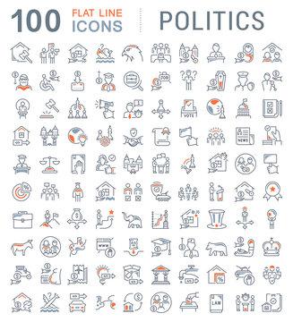 Set Vector Line Icons of Politics.