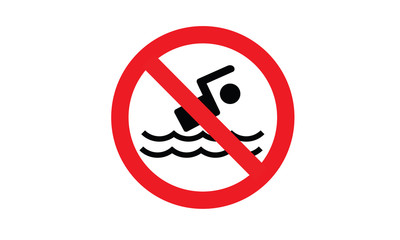 No swimming sign symbol red and white circle pictogram