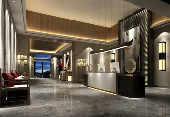 3d render of luxury hotel lobby reception Wall mural