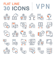 Set Vector Line Icons of VPN.
