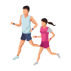 Fitness couple running avatar