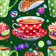 Seamless watercolor pattern from cups in polka dots, pastries and chocolates on a green background.