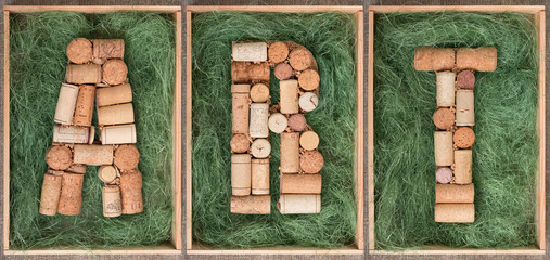 Word Art made of wine corks on green background in wooden box Seamless  Banner