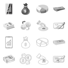 Vector illustration of bank and money icon. Set of bank and bill stock vector illustration.