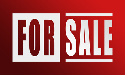 For Sale - neat white text written on red background