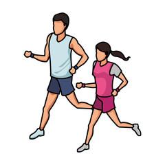 Fitness couple running avatar