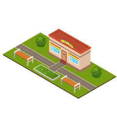 Isometric Coffee bar building at the summer city park concept. Trees, bushes, benches, beds, flower beds. Landscaping  composition. Vector