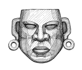 ancient jade mexican mask, vintage hand drawing