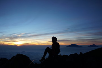 enjoy the sunset on the mountain