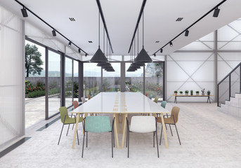 Modern co working office with organic garden 3D Rendering