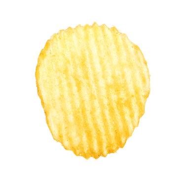 Tasty ridged potato chip on white background
