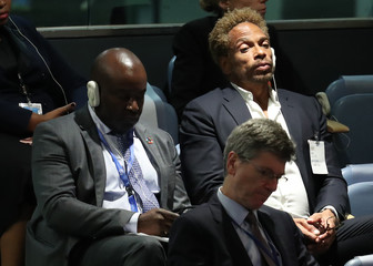 Actor Dourdan watches as France's President Macron addresses the United Nations General Assembly in New York