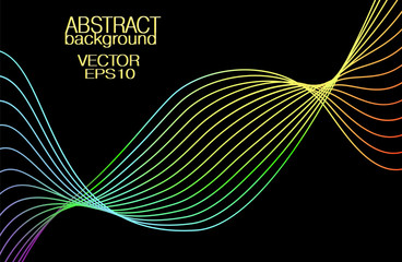 Multi-colored waveform on black background. Vector vibrant rainbow line art pattern. Artistic glowing waving lines. Abstract technician design element. Electricity concept. EPS10 illustration
