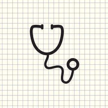 thin line stethoscope icon on white background
