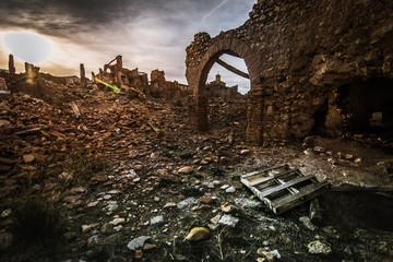 belchite viejo paisaje apocaliptico restos de la guerra civil Wall mural
