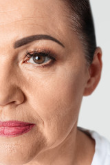 Closeup view of beautiful older woman