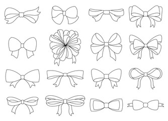 Set of decorative bow for your design. Vector bow silhouette isolated on white. Coloring book