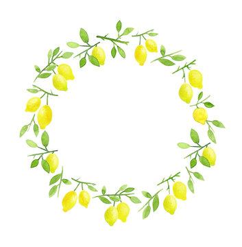 Lemons wreath. Watercolor hand painted lemons round frame.
